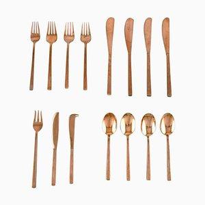 Sigvard Bernadotte Scanline Cutlery in Brass, 1960s, Set of 15
