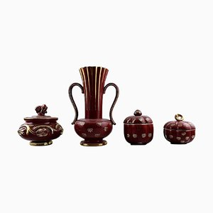 Collection of Red Rubin Pottery with Red Glaze and Gold by Arthur Percy for Upsala-Ekeby, Set of 4