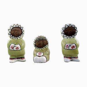 Collection of Upsala-Ekeby Art Pottery Figurines of Eskimo Children, Set of 3