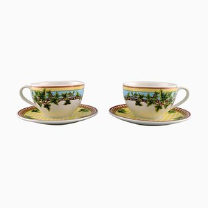 Gianni Versace for Rosenthal Ivy Leaves Passion Cups with Saucers, Set of 4