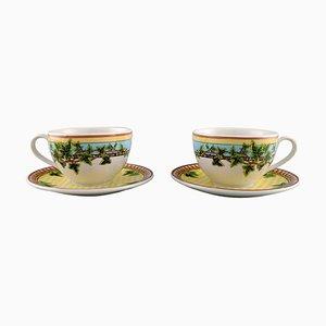 Gianni Versace für Rosenthal Ivy Leaves Passion Tassen mit Untertassen, 4er Set