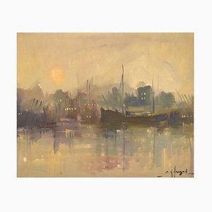 Oil on Canvas Harbor Scene by Carlo Knud Hansen, Denmark