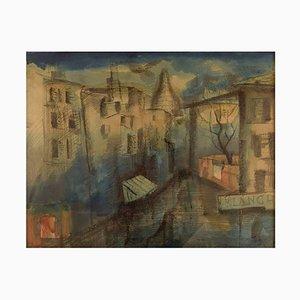 Mogens Vantore Scenery de Paris en Crayon, Crayon et Aquarelle sur Papier