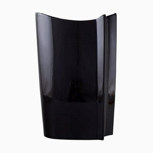 Modernist Vase in Black Glazed Ceramic by Poul Partanen for Arabia, Finland, 1980s