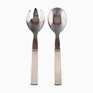 Bernadotte Silver Cutlery Georg Jensen Salad Set, Set of 2