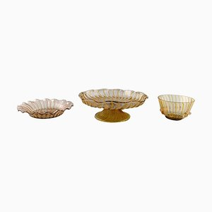 Art Deco Venice Bowls and a Compote in Art Glass from Barovier & Toso, 1940s, Set of 3