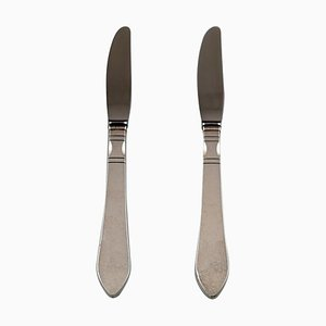 Georg Jensen Continental Dinner Knife in Hand-Hammered Silverware, 1940s, Set of 2