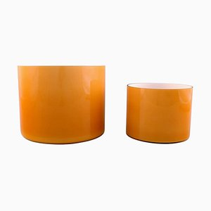 Large Bowls in Ocher Yellow Opaline Glass by Kastrup & Holmegaard, 1960s, Set of 2