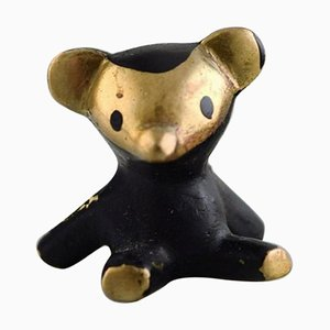 Black Gold Line Teddy Bear in Bronze by Walter Bosse for Herta Baller, 1950s