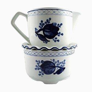 Royal Copenhagen & Aluminia Tranquebar Teapot with Warmer, 1960s, Set of 2