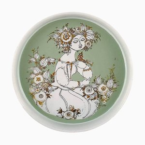 Rosenthal Studio Line, Bjorn Wiinblad Porcelain Bowl with Motif of Woman and Bird