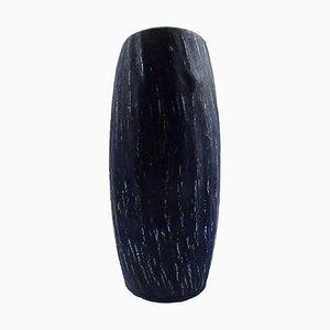 Rörstrand Gunnar Nylund Rubus Keramik Vase in blauer Glasur