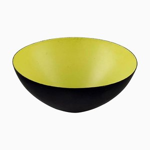 Large Krenit Bowl in Black Metal and Mint Green Enamel by Herbert Krenchel, 1970s