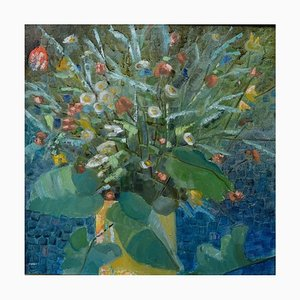 Blumenstillleben Öl an Bord, Mitte 20. Jahrhundert