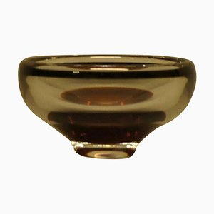 Orrefors Art Glass Bowl with Black Rim and Dark Red Bottom