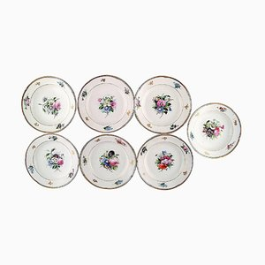 Hand-Painted Flower Deep Plates from Bing & Gröndahl, Set of 7