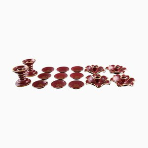 Collection Red Rubin Pottery with Red Glaze with Gold from Upsala-Ekeby, Gefle, Set of 15