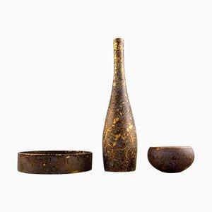 Porzellan Vase und 2 Schalen in Gold von H. Dressler für Rosenthal, 1960er, 3er Set