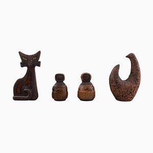 Schwedische Keramikfiguren von Lars Bergsten, 1960er, 4er Set