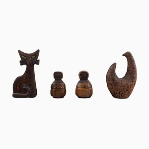 Swedish Ceramic Figurines by Lars Bergsten, 1960s, Set of 4