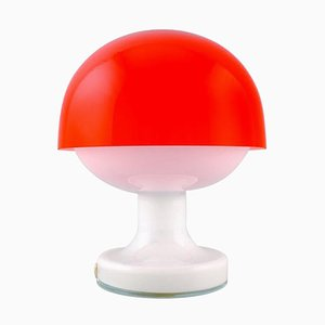 Bowler Table Lamp in White and Red Opaline Glass from Kastrup & Holmegaard, 1960s