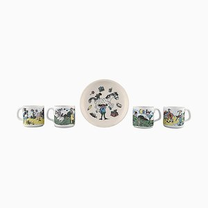 Rörstrand Cups and Plate in Porcelain with Pippi Longstocking Motifs, Set of 5