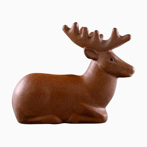Glazed Ceramic Deer Figure by Lisa Larson for Jie Stengods-Ateljé