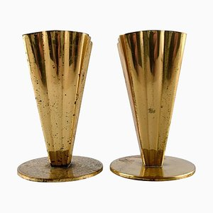 Brass Vases from Ystad Metall, 1950s, Set of 2
