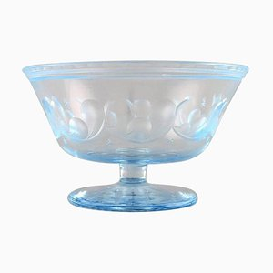 Art Deco Satin-Cut Light Blue Art Glass Bowl on Foot by Simon Gate for Orrefors, 1928