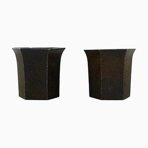 Vases in Disko Metal by Just Andersen, 1920s, Set of 2