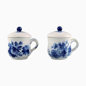 Blaue geflochtene Blumen Becher von Royal Copenhagen, 1960er, 2er Set