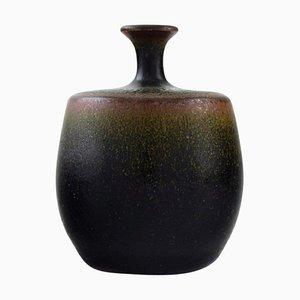Keramik Vase mit gesprenkelter Glasur in braunen Schirmen von Rolf Palm für Mölle, 1970er