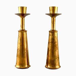 Skandinavische Kerzenhalter aus Messing, 1960er, 2er Set