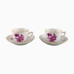 Hand Painted Herend Porcelain Coffee Cups with Saucers, 1950s, Set of 4