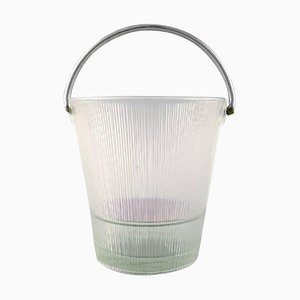 Finnish Art Glass Ice Bucket with Handle in Stainless Steel, Finland, 1980s