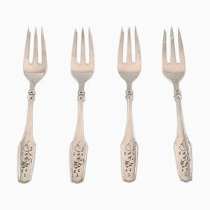 Cake Forks in Silver, 1930s, Set of 4