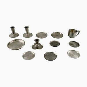 Candleholders, Bottle Trays and Mug in Pewter by Just Andersen, 1930s, Set of 12