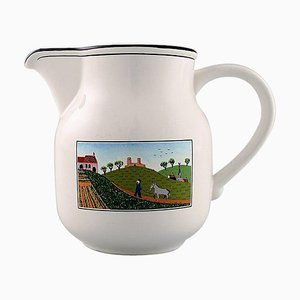 Villeroy & Boch Naif Jug in Porcelain Decorated with Nativist Village Motif