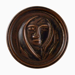 Royal Copenhagen Jais Nielsen Ceramic Plaque in Brown Glaze