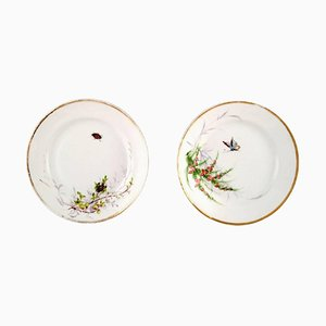 Antique Bing & Grondahl Plates Hand-Painted with Butterfly and Insect, Set of 2