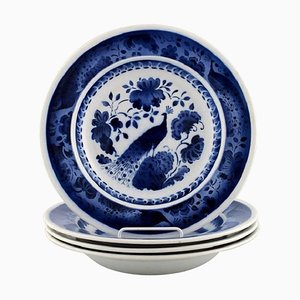 Deep Plate in Faience, 1920s, Set of 4