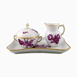 Royal Copenhagen Purple Sugar Bowl and Creamer Set on Tray, Set of 3