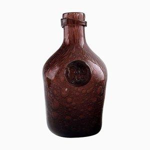 Französisches Violettes Glas mit Luftblasen Flasche, 1900er