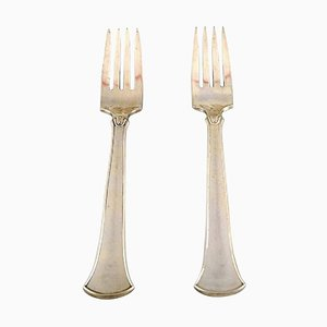 Hans Hansen Silverware Number 5 Luncheons Forks in Sterling Silver, 1940s, Set of 2