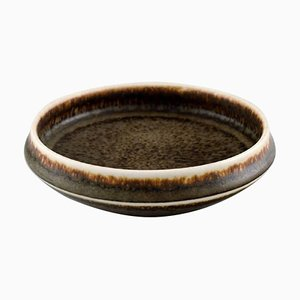 Pottery Dish with Glaze in Brown Shades by Carl-Harry Stålhane Rörstrand