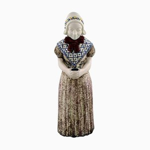 Large Figure of Woman with Songbook by Michael Andersen Ceramics from Bornholm