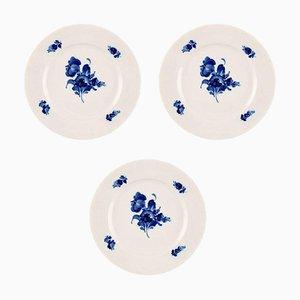Blaue geflochtene große Royal Copenhagen Teller, 1960er, 3er Set