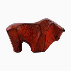 Bitossi Style Red Bull in Glazed Ceramic, 1960s