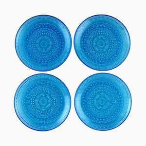 Kastehelmi Plates in Blue Art Glass by Oiva Toikka for Nuutajärvi, 1960s, Set of 4