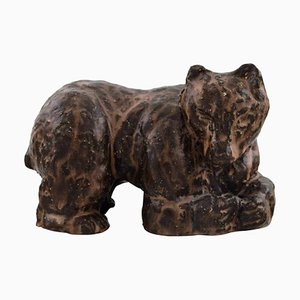 Scandinavian Ceramist Figure of Brown Bear in Glazed Stoneware